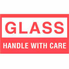 """Glass Handle With Care 3"""" x 5"""" - White / Red"""