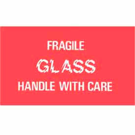 """Fragile Glass Handle With Care 3"""" x 5"""" - Red / White"""