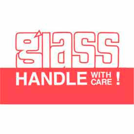 """Glass Handle With Care Inverted 3"""" x 5"""" - White / Red"""