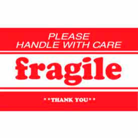"Fragile Please Handle With Care Thank You 3"" x 5"" - White / Red"
