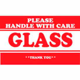 "Glass Please Handle With Care 2"" x 3"" - White / Red"