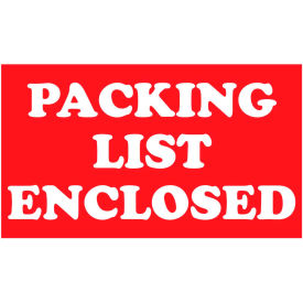 "Packing List Enclosed 2"" x 3"" - Red / White"