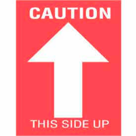 """Caution This Side Up 3"""" x 4"""" - Red / White"""