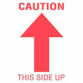"Caution This Side Up 3"" x 5"" - White / Red"