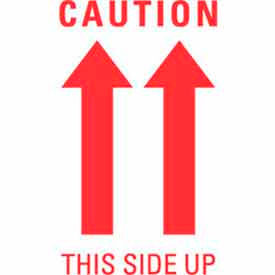 """Caution This Side Up (Double Arrow) 3"""" x 5"""" - White / Red"""