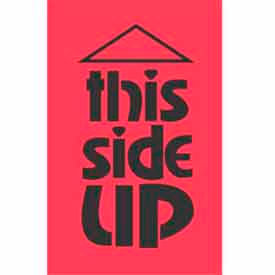 """This Side Up 2"""" x 3"""" - Fluorescent Red / Black"""