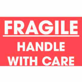 """Fragile Handle With Care 2"""" x 3"""" - Red / White"""