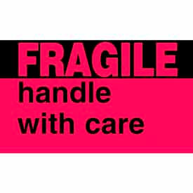 "Fragile Handle With Care 3"" x 5"" - Fluorescent Red / Black"