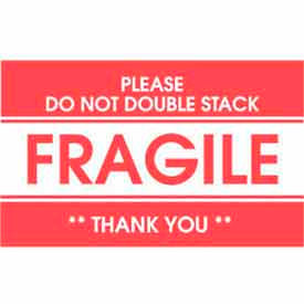 "Fragile Please Do Not Double Stack Thank You 3"" x 5"" - White / Red"