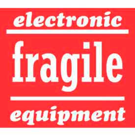 """Electronic Equipment Fragile 4"""" x 4"""" - Red / White"""