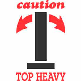 "Caution Top Heavy 3"" x 4"" - White / Red / Black"