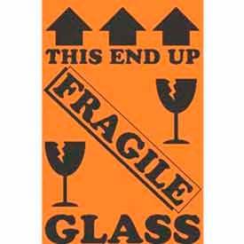 "This End Up Fragile Glass 4"" x 6"" - Fluorescent Orange / Black"