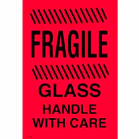 """Fragile Glass Handle With Care 4"""" x 6"""" - Fluorescent Red / Black"""