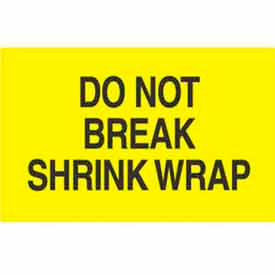 "Don't Break Shrink Wrap 2"" x 3"" - Bright Yellow / Black"