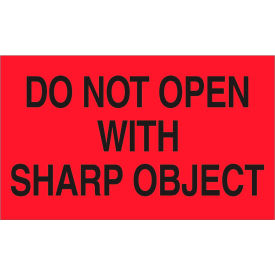 """Don't Open w/Sharp Object 3"""" x 5"""" - Fluorescent Red / Black"""