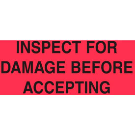"""Inspect For Damage Before Accepting 3"""" x 5"""" - Fluorescent Red / Black"""