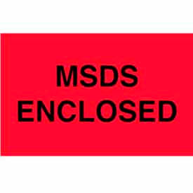 "MSDS Enclosed 3"" x 5"" - Fluorescent Red / Black"