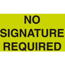 "No Signature Required 3"" x 5"" - Fluorescent Green / Black"