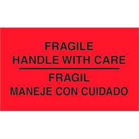"Fragile Bilingual 3"" x 5"" - Fluorescent Red / Black"