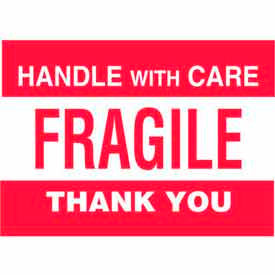 "Handle With Care-Fragile Thank You 4"" x 6"" - White / Red"