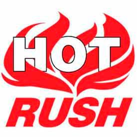 """Hot Rush 4"""" x 4"""" - White / Red"""