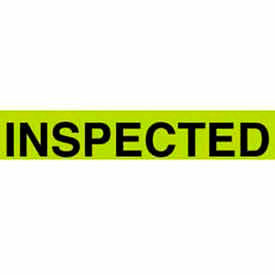 "Inspected 1-3/8"" x 2"" - Fluorescent Green / Black"