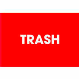 "Trash 2"" x 3"" - Red / White"