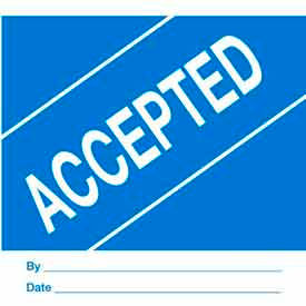 """Accepted 4"""" x 4"""" - Blue / White"""