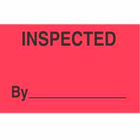 "Inspected 1-3/8"" x 2"" - Fluorescent Red / Black"