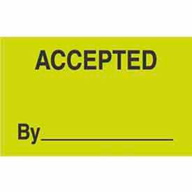 """Accepted By 1-3/8"""" x 2"""" - Fluorescent Green / Black"""