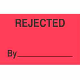 """Rejected By 1-3/8"""" x 2"""" - Fluorescent Red / Black"""