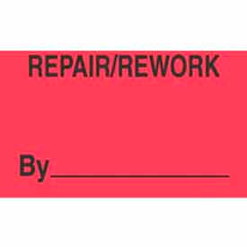 "Repair/Rework By 3"" x 5"" - Fluorescent Red / Black"