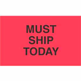 "Must Ship Today 1-3/8"" x 2"" - Fluorescent Red / Black"