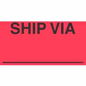 "Ship Via 3"" x 5"" - Fluorescent Red / Black"