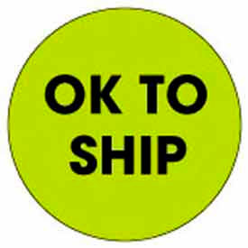 "Ok To Ship 2"" Dia. - Fluorescent Green / Black"