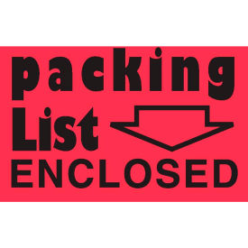 "Packing List Enclosed 2"" x 3"" - Fluorescent Red / Black"