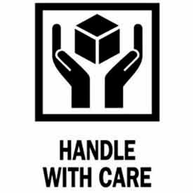 """Handle With Care 3"""" x 4"""" - White / Red / Black"""