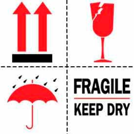 "Fragile Keep Dry 4"" x 4"" - White / Red / Black"