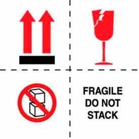 """Fragile Do Not Stack 6"""" x 6"""" - White / Red / Black"""