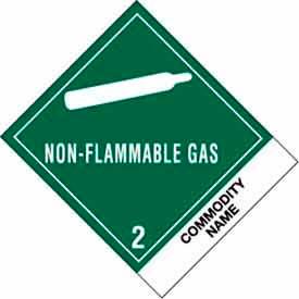 "Non-Flammable Gas Comp 4"" x 4-3/4"" - Green / White"