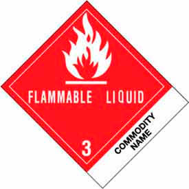 "Flammable Liquid NOS 4"" x 4-3/4"" - White / Red / Black"