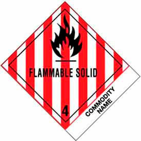 "Flammable Solid Blank 4"" x 4-3/4"" - White / Red / Black"