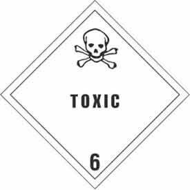 """Hazard Class 6 - Toxic 4"""" x 4"""" - White / Black"""
