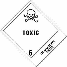 """Poison Inhalation Haz 4"""" x 4-3/4"""" - White / Black"""