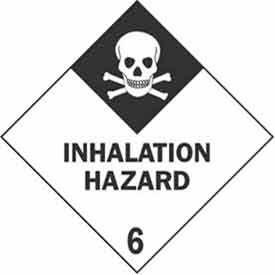 """Hazard Class 6 - Inhalation Hazard 4"""" x 4"""" - White / Black"""