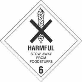"""Hazard Class 6 - Harmful Stow Away 4"""" x 4"""" - White / Black"""