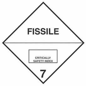 "Hazard Class 7 - Fissile 4"" x 4"" - White / Black"