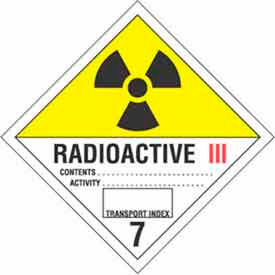 "Hazard Class 7 - Radioactive III 4"" x 4"" - White / Yellow / Red / Black"