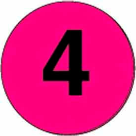 """4"""" Dia. Disc With #4 - Fluorescent Pink / Black"""