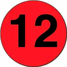 """3"""" Dia. Disc With #12 - Fluorescent Red / Black"""